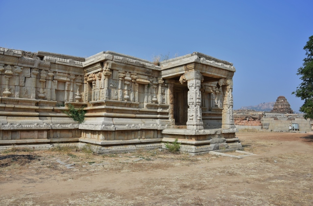 Side view of Vishnu temple and South gopuram of Vitthala