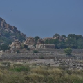 Long shot of Chandramouleswara Temple across Tungabhadra
