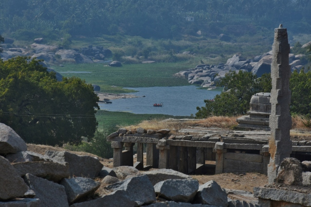 View of Coracle ride near ChakraTheertha from top of Narasimha temple