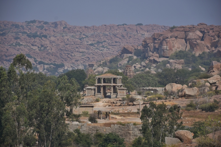 View of ancient gateway to Vitthala complex from top of Narasimha Temple