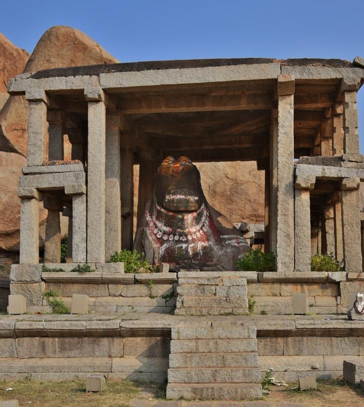 Monolithic Couchant Bull inside a Double storeyed house - Eduru Basavanna