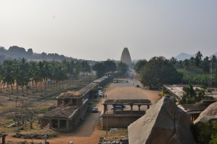 View of Lofted East Gopura of Virupaksha or Pampapati Temple - Originally,a small shrine in 7th century,expanded to its vast dimensions in present state during the first half of 16th century.