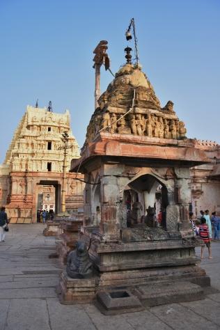 Nandi Mandapam having 3 Nandi statues infront of the Main sanctum of Virupaksha temple