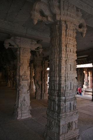 Monolithic pillar works on black stones inside Ranga mandapa of Virupaksha temple