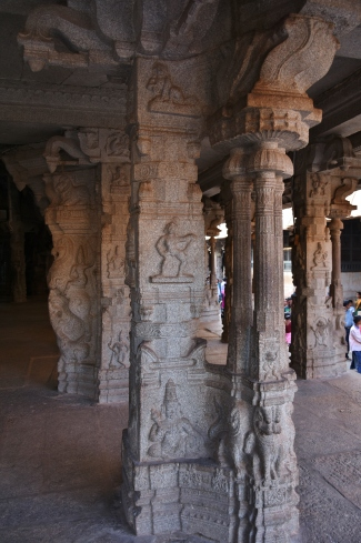 Pillar works inside Ranga Mandapa