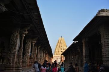 Inner prakara of Virupaksha temple between Ranga Mandapa and Cloistered Pillared Mandapa
