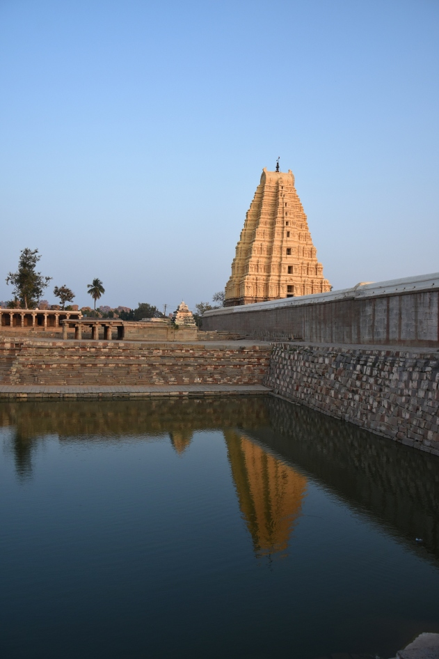 Reflection of Lofty Eastern Gopura of Virupaksha on the Pushkarani