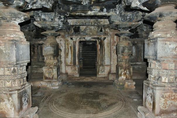 Floor view and pillar works of that Trikuta temple