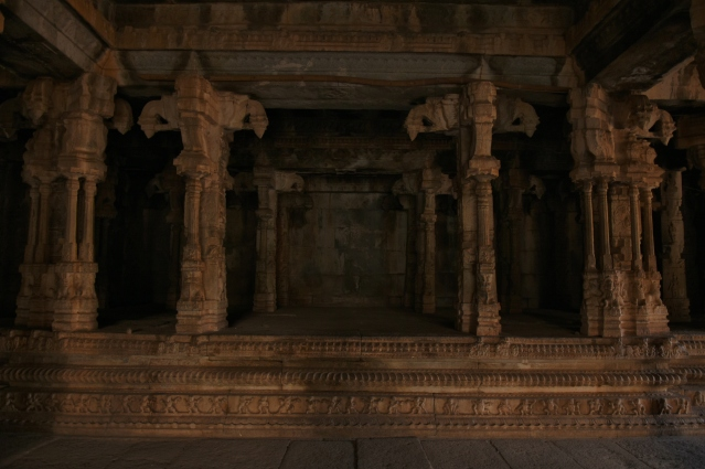 Highly ornamented stage inside Maha mandapa of Raghunathaswamy temple.