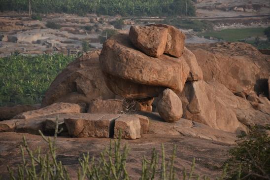 Views around Malyavantha Hill.Rock boulders Balancing.