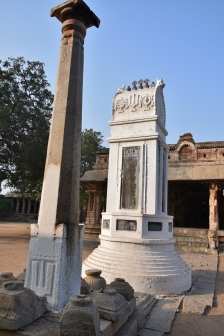 Lamp post and Inagural stone on the east side of Raghunathaswamy temple.