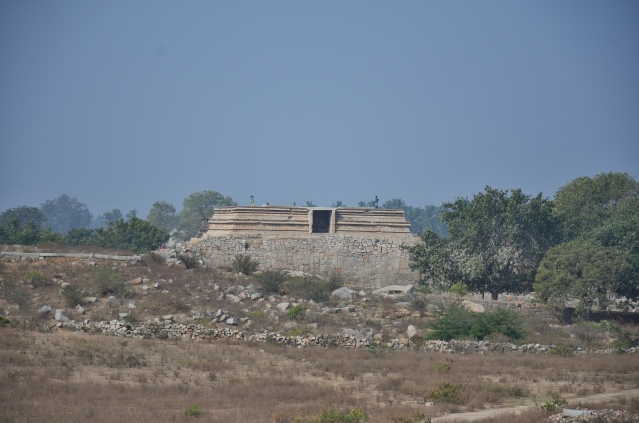Long view of Mahanavami Dibba on the nortwest side of Saraswathi Temple.