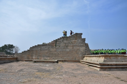Flight of Steps in King's Audience Hall - Durbar Hall of the King of Vijayanagara.According to the famous historian Abdur Razzak, who visited Vijayanagara during the reign of Devaraya II, the King's Audience Hall was one of the most magnificent building.