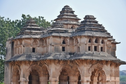 Lotus Mahal or Chitrangi Mahal - Two storeyed,indo-islamic style,built in rubble masonry and finely plastered.Square type with indents and central projections in the cardinal directions.