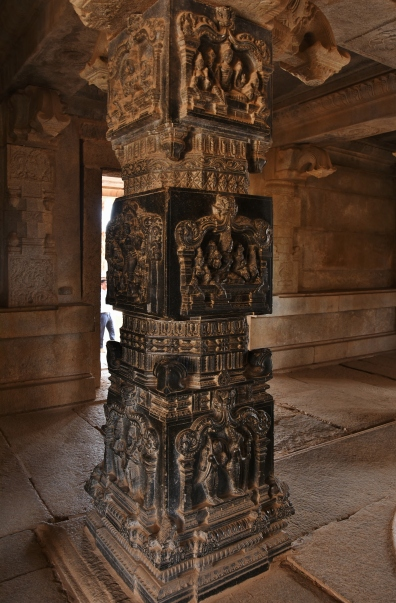Hazaara Rama Temple - Inside the main mandapa are four intricately carved pillars in the Hoysala style; these carving include depictions of Rama, Lakshmana and Sita of Vaishnavism, Durga as Mahishasuramardini of Shaktism and Shiva-Parvati of Shaivism.
