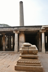 Prasanna Virupaksha Temple - Eastern part has a pillared 7aisled mahamandapa with a tall and tapering Dipa sthambha.Inscriptions found in this temple records the name of it as Prasanna Virupaksha and Krishnadevaraya made some donations on his coronation.