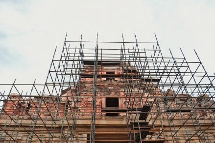 Rennovating works of Eastern gopura in progress.3 gopuras(E,N,S) of Krishna temple are much dilapidated.The largest east gopura has only a part of the super structure.on its western side,on the first tier,it contains fine stucco figures of a war scene of Kalinga (Udayagiri) campaign of Krishnadevaraya.