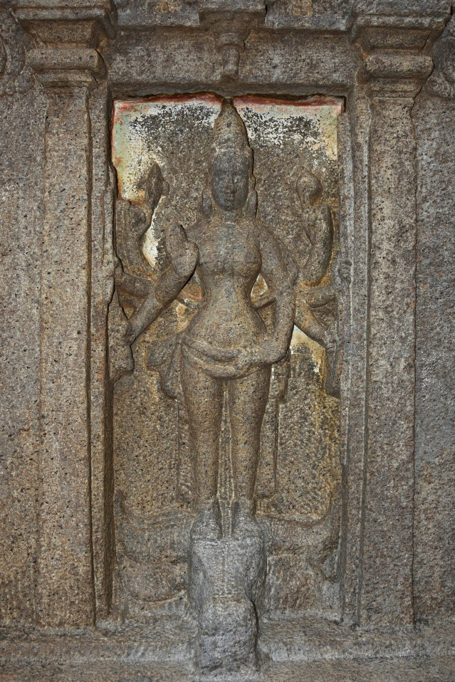 DSC_9470 - Outside the cells of Timurthy cave (on right side), Durga standing on the head of Mahishasura with 8 arms and makaratorana.