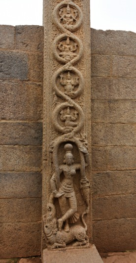 Salabhanjika along with several other deities (for bringing luck and prosperity) sculpted at the doorstep of Rayar gopuram.