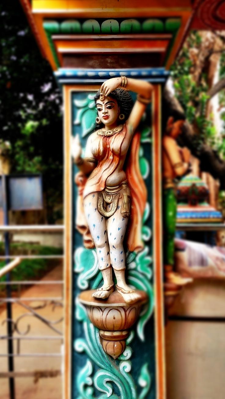 C360_2018-08-29 - Beautifully painted lady figure in a pillar of Thanjavur Maharaja Serfoji's Sarasvati Mahal Library. (2)