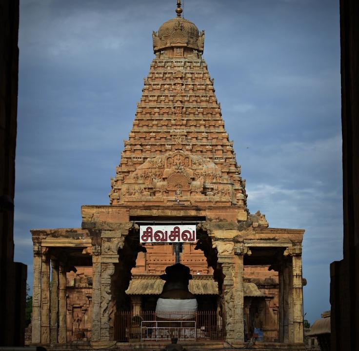 DSC_0189 - Nandi Mandapa and 216ft high Sri Vimana of Thanjavur Big temple.
