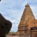 DSC_0241 – Brihadeeswara viewed from thw angle of Chola period Nandi on the South side of circumambulatory.