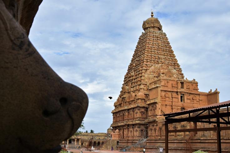 DSC_0241 - Brihadeeswara viewed from thw angle of Chola period Nandi on the South side of circumambulatory.