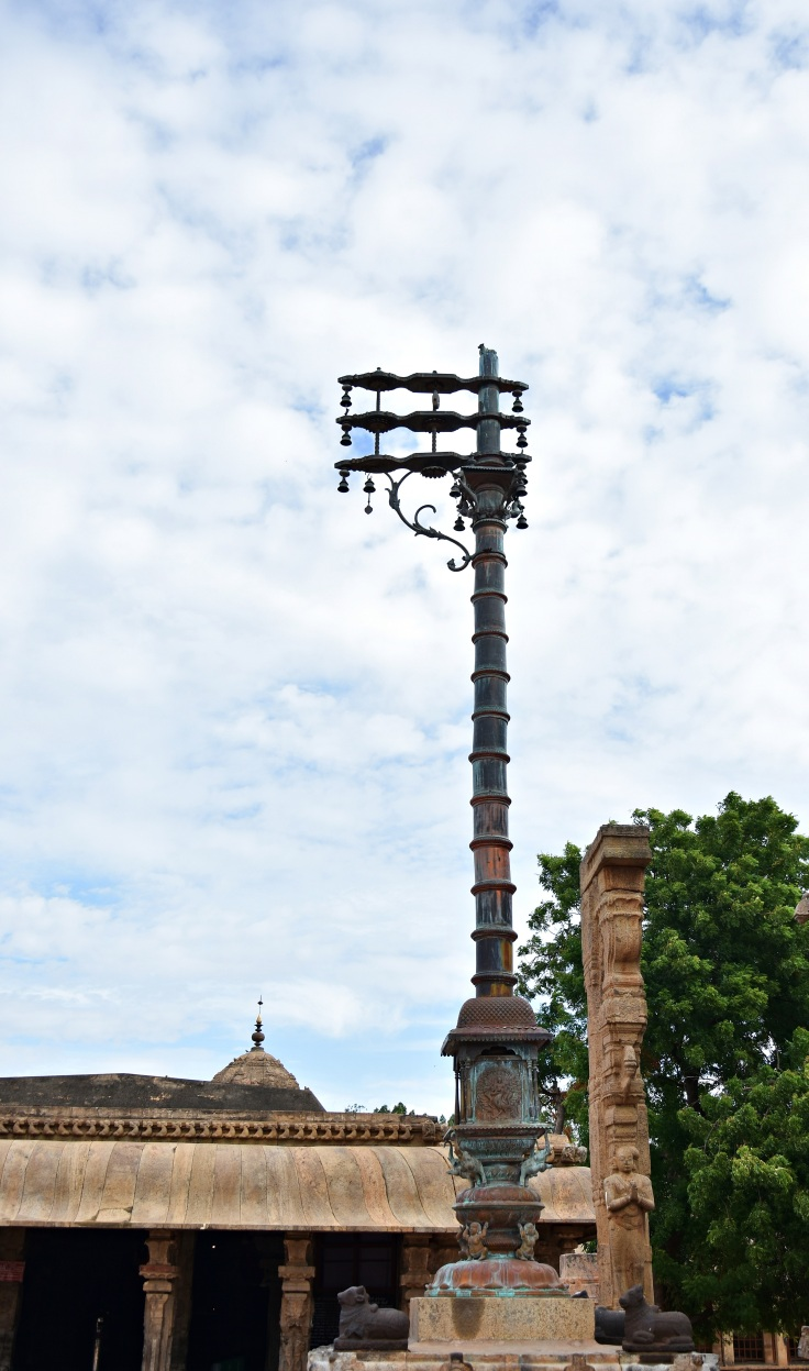 DSC_0263 - Decorated flag post or Dvaja sthamba of Thanjavur Brihadeeswara temple.