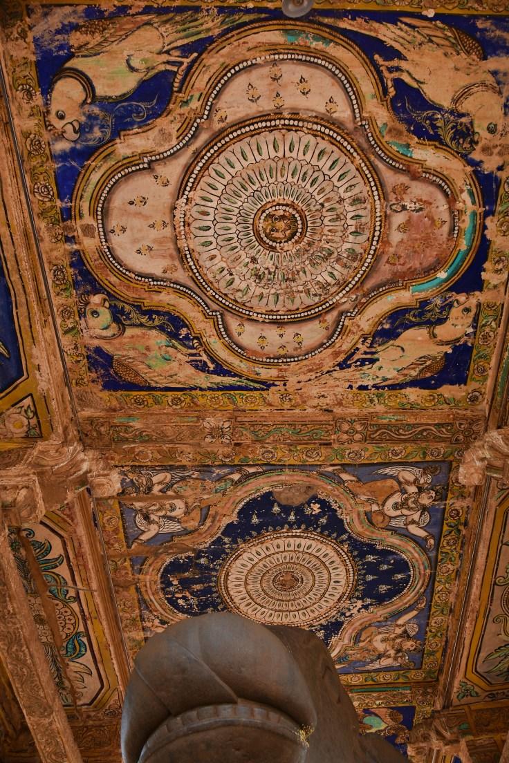 DSC_0273 - Inside Nandi mandapa in front of Mukhamandapa - Mural paintings on the ceilings.(centre)