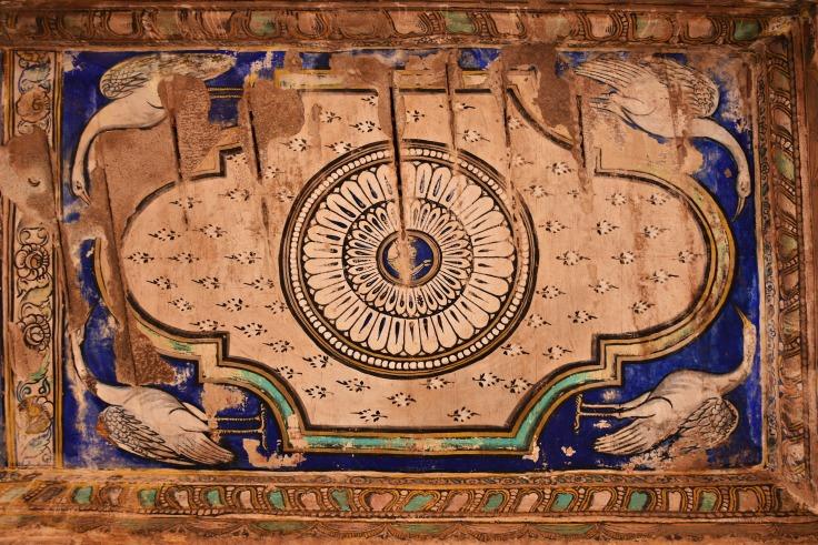 DSC_0285 - Inside Nandi mandapa in front of Mukhamandapa - Mural paintings on the ceilings.