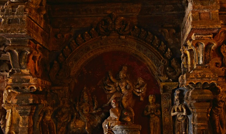 DSC_0317 - Markhandeya legend displayed on the west wall of Mahamandapa - Brihanayaki Amman shrine.