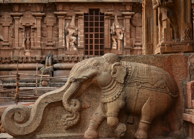 DSC_0381 - Elegantly carved Elephant found on the side walls of steps leading to the Mukhamandapa of Karthikeya shrine (NW).