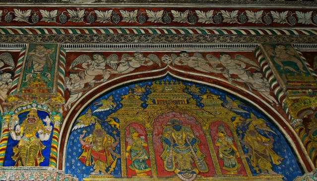 DSC_0416 - Thanjavur style painting of Lord Krishna with his consorts - Maratta Durbar hall.