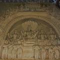 DSC_0432 – Plaster relief of Lord Vishnu with his consorts having a makarathorana – Maratta Durbar hall.