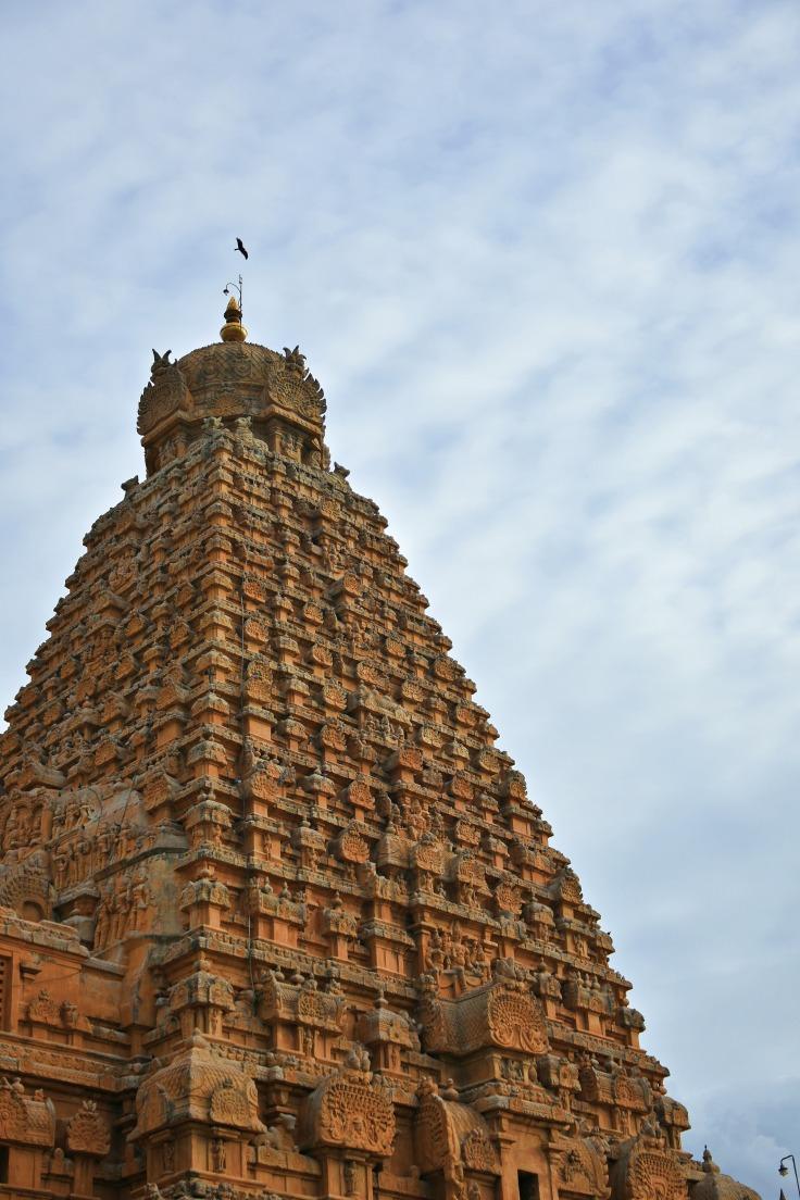 DSC_0498 - Quadrangle Sri Vimana of 216ft,13 tiers above 3 tiered square sanctum - Evening view from NE corner.