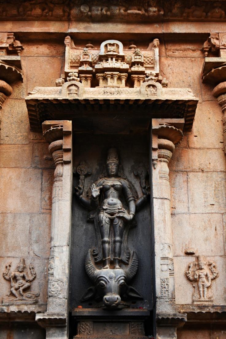 DSC_0505 - Mahishasuramardhini Durga relief above the Komugham - N side of E facing Karthikeya shrine.