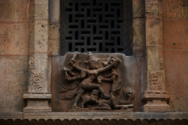 DSC_0507 - Another small Mahishasuramardhini relief found at the north side window of Subrahmanya shrine.