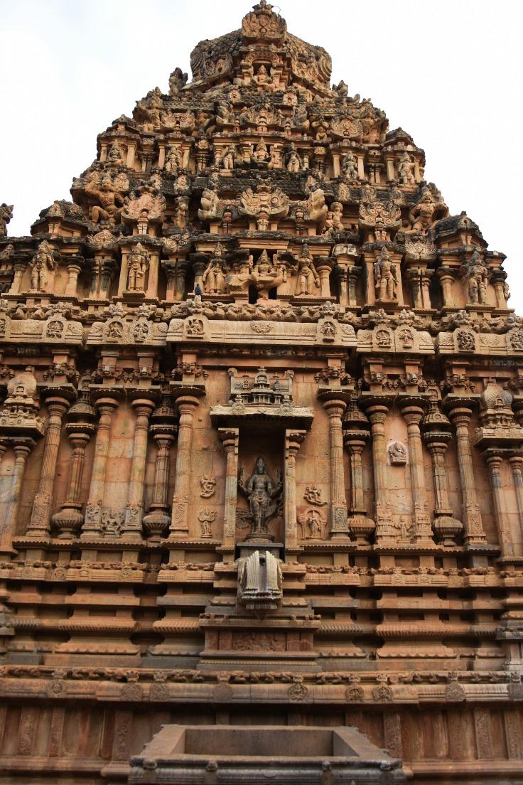 DSC_0513 - North side of east facing Subrahmanya shrine with Mahishasuramardhini relief above the Komugham(Pranala).