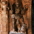 DSC_0573 – Sword carrying Dwarapalakas made out of black basalt stone guarding the Garbhagriha of Karthikeya shrine.