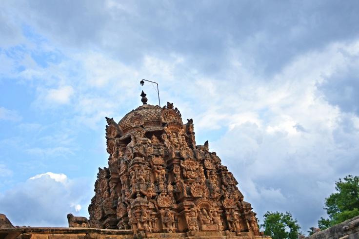 DSC_0597 (1) - Superstructure of E facing Ganesha shrine at SW corner of Brihadeeswara - N side.
