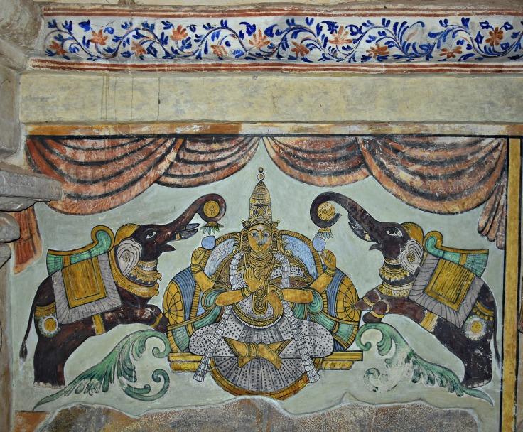 DSC_0616 - Mural Painting, Cloister mandapa (W) - 16th CE Nayaka period - Gajalekshmi.