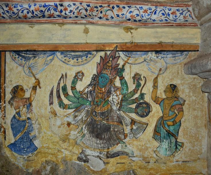 DSC_0618 - Mural Painting, Cloister mandapa (W) - 16th CE Nayaka period - Mahishasuramardini Durga with 8 arms.