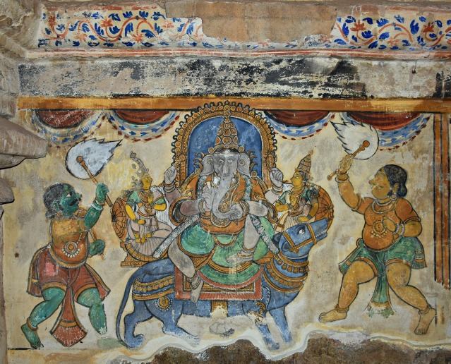 DSC_0621 - Mural Painting, Cloister mandapa (W) - 16th CE Nayaka period - Lord Ganesha on his holy Rat.