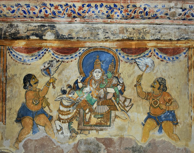 DSC_0622 - Mural Painting, Cloister mandapa (W) - 16th CE Nayaka period - Shiva with Parvathi, both sitting on Nandi vahana.