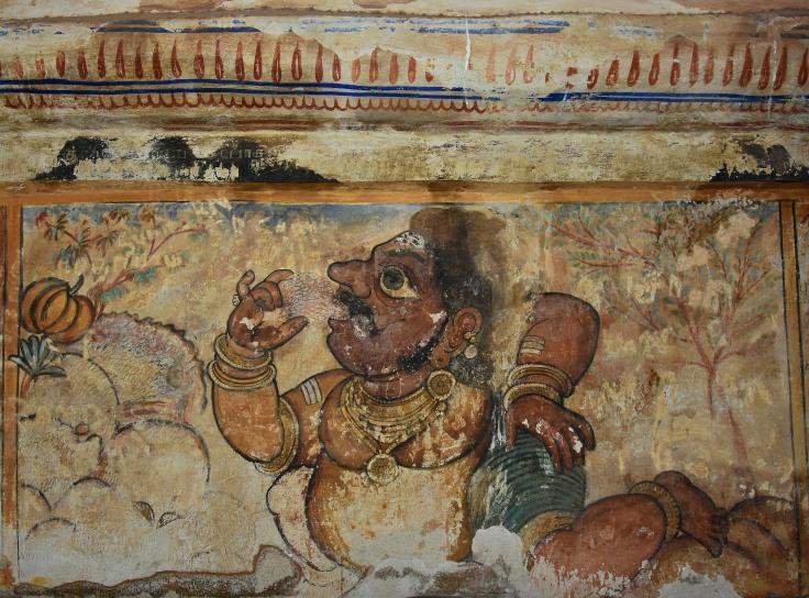 DSC_0632 - Mural Painting, Cloister mandapa (N) - 16th CE Nayaka period - Is it Bheema.