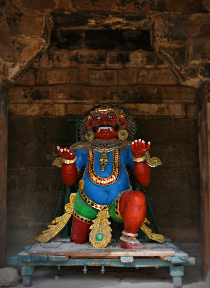 DSC_0730 - Virabhadra statue found in the SW corner of Cloister mandapa - Brihadheeswara temple complex.