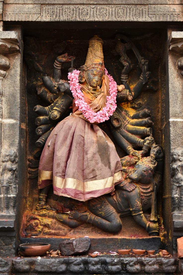 DSC_9729 - A representation of Shaktism - Mahishasuramardhini relief on the inner left side of Eastern gopuram.