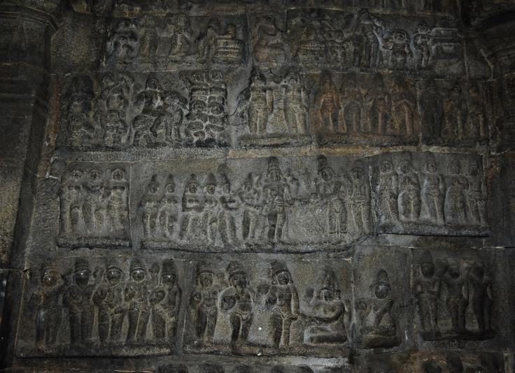 DSC_9935 - opposite to main shrine inside the Ardhamandapa showing various Shaivism legends.