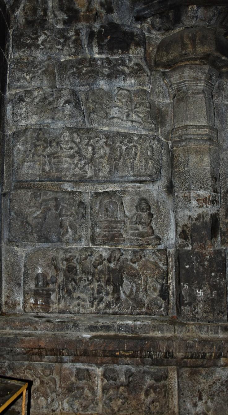 DSC_9939 - opposite to main shrine inside the Ardhamandapa showing various Shaivism legends.